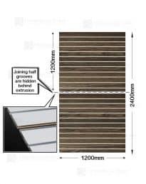 Modern Oak Woodgrain Slatwalls (CSW11MO-2) Half panels-2 x 1200mm(w) x 1200mm(h)