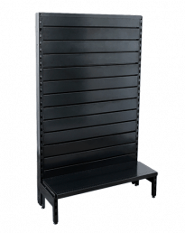 Narrow Aisle Single Sided Black Metal Slatwall Gondola Shelving Units 300mm Base