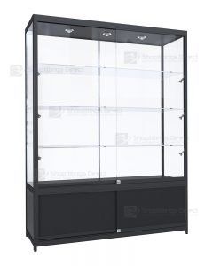 Black 1500mm Aluminium Framed Glass Display Cabinet With Storage
